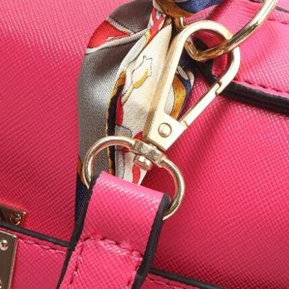 Leather Handbag With Padlock Fasten..