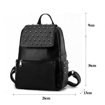Black Leather Backpack With Rivets ..