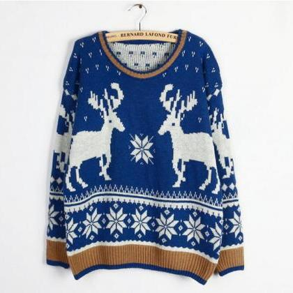Christmas Moose Elk Sweater Soft Co..