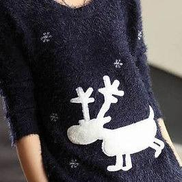 Women Lady Navy Reindeer Christmas ..