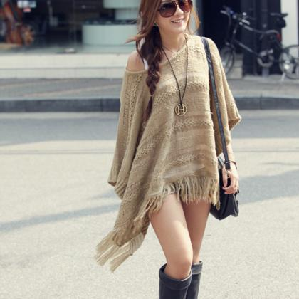 Hot sale Chic Tassels Bat Sleeve Ho..