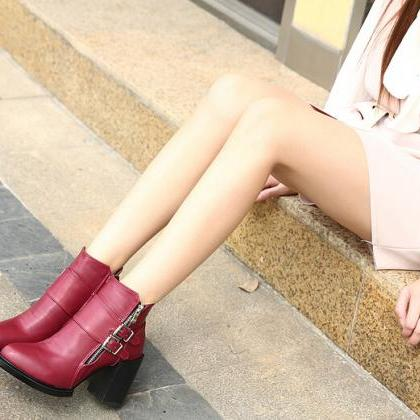 Buckle Design Wine Red Chunky Heel ..