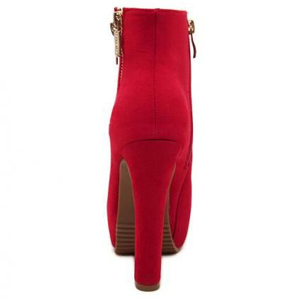 Red Side Zip High Heels Fashion Boo..