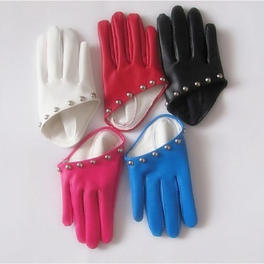 Women Party Faux Leather Gloves