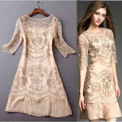 Embroidered Gauze Asymmetrical Slee..