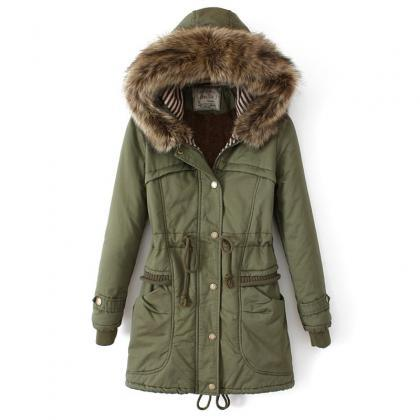 Women'S Slim Fur Collar Coat