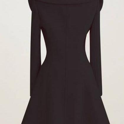 Vogue Turndown Collar Black Button ..