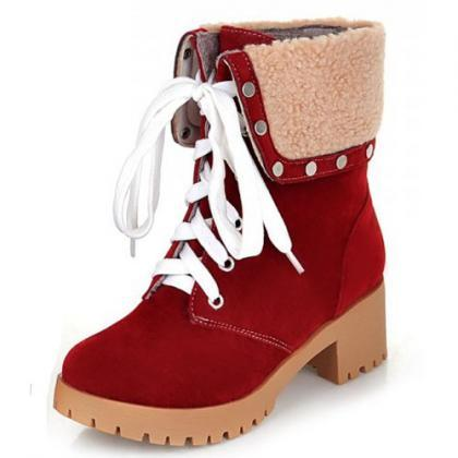 Red Suede Lace-Up with Studded High..