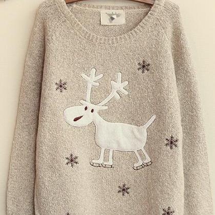 Women'S Fashion Snow Elk Round Neck..