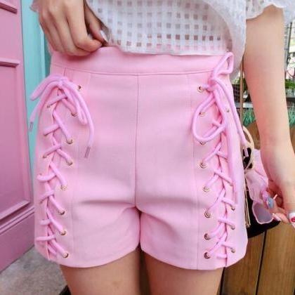 Pastel Pink Casual Shorts with Lace..