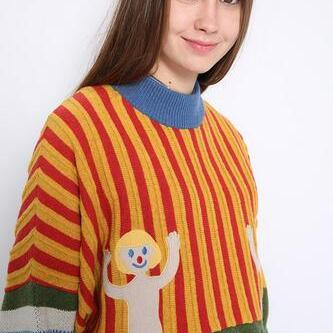 Harajuku Cartoon embroidered Stripe..