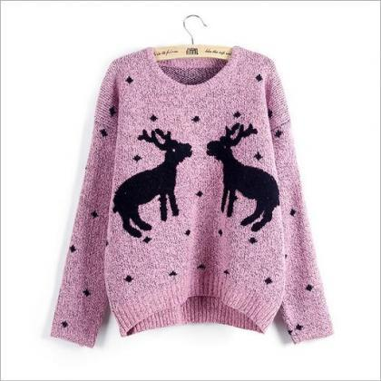 Cute Chrismas Reindeer women sweate..