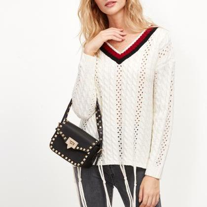 Plunge V Open-Knit Sweater Featurin..