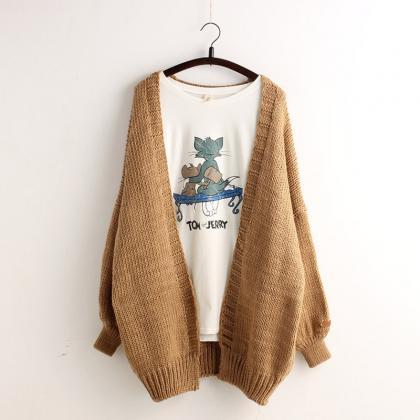 Solid Color Batwing Loose Knit Card..
