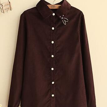 Retro Rubby Collar Long Sleeve Blou..