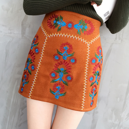 Flower Embroidered A-line Skirt
