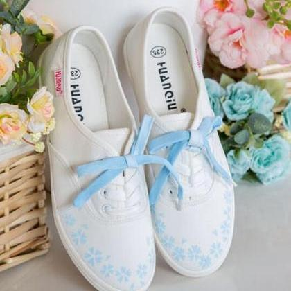 Sakura Hand-Painted Lace-Up White S..