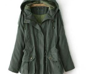 Green Hooded Long Sl..