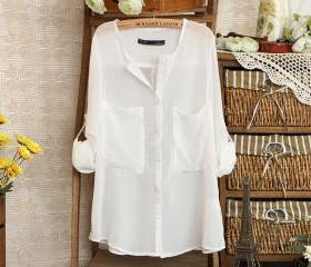 V-Neck White Loose B..