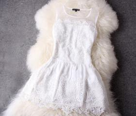 Fashion White Lace D..