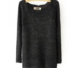 Black Knitted Sequin..