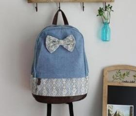 Denim Lace Backpack ..
