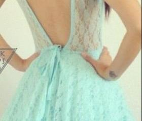 Mint Lace Backless D..