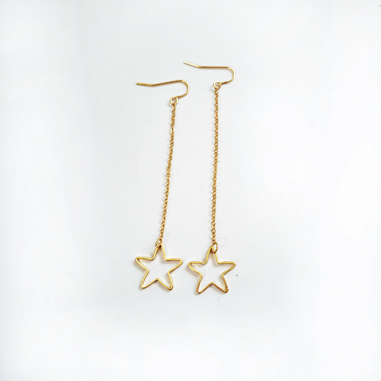 Gold Star Dangle Earrings Jewelry