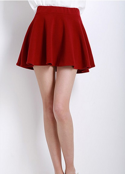 High Waisted Ruffled Short Skater Skirt