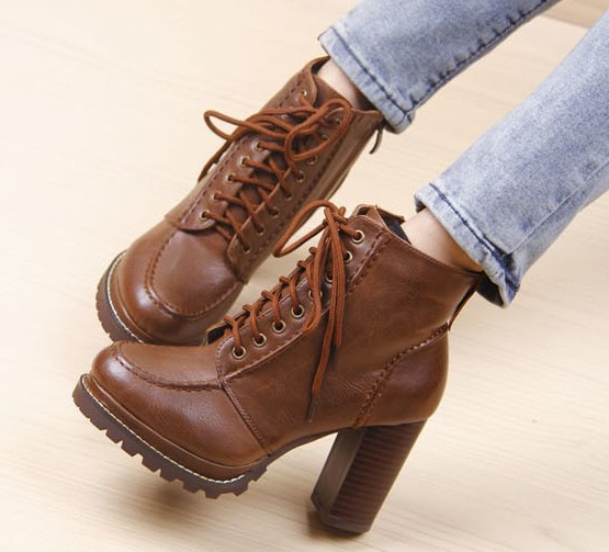 Distressed Leather Motorcycle Lace Up Boots. Three Colors Available