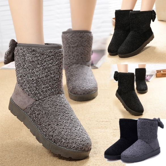 Fashion Women Winter Warm Bowknot Ankle Snow flat Boot