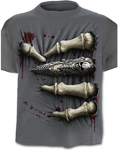 Men's Active Plus Size Cotton T-shirt - Skull Print / Short Sleeve t-shirt