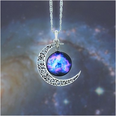 Women's Pendant moon Galaxy European,Fashion Blue, Red / White, Rainbow Necklace Jewelry Necklace