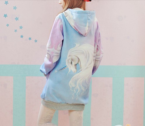 New Winter spring 2014 Harajuku Hooded Unicorn Sweater Jumper