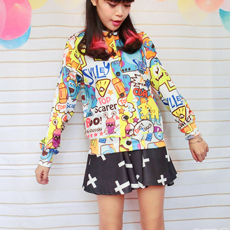 Harajuku Cutie Monsters Printed Jackets. Three Designs Available
