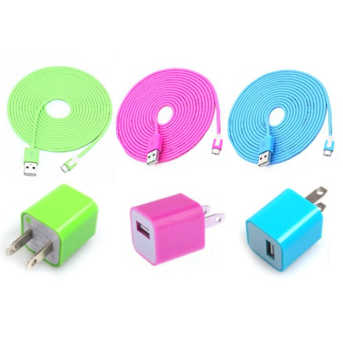 Total 6pcs/Lot! Cool Colouful 3PCS USB Cord And Charger For Iphone 5