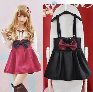Super Cute Bow High Waist Suspender Skirt With Detachable Straps