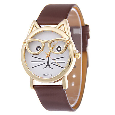 Women's Ladies Wrist Watch,Quartz Cat Quilted PU Leather Casual Watch,Analog Casual Fashion watch