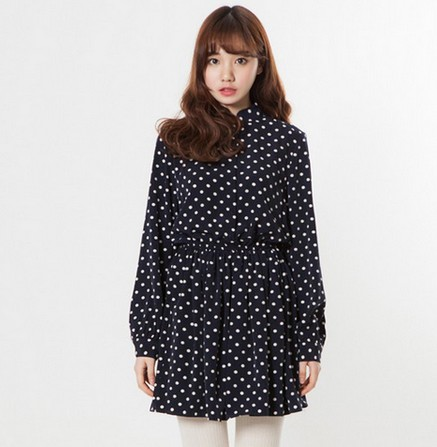 2014 Spring Summer Vintage Inspired Polka Dot Chiffon Dress