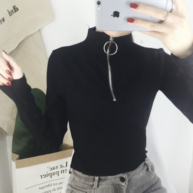 High Collar Zipper Up Long Sleeve Top