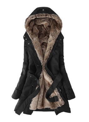 Fashion Faux Fur Lined Coat-black color