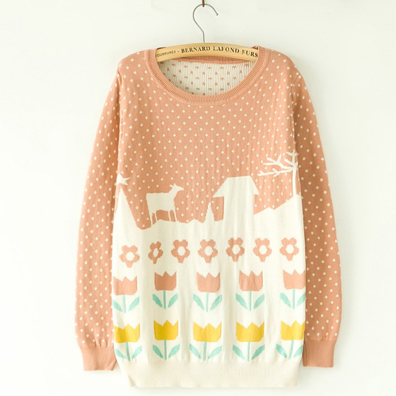 New spring Fall 2014 Cute Pink Pullover Sweater