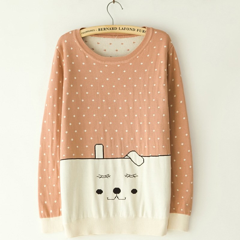 2014 spring Fall Polka Dot Pink Knitted Sweater
