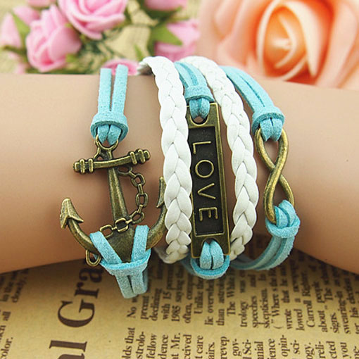 Retro Blue color Infinity Weave Anchor Love Bracelet