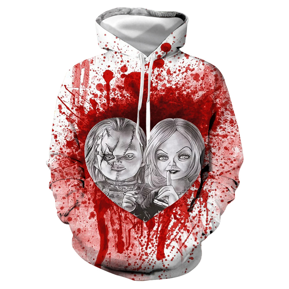 Halloween ghost doll digital print hoodie with round neck and long sleeves