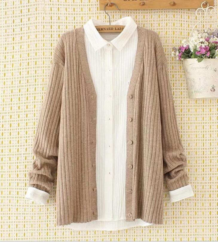 Korean version of solid color plus size loose V-neck knitted sweater cardigan