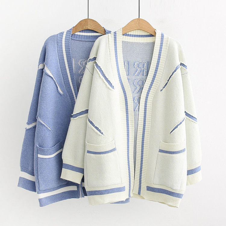 Long striped knitted cardigan sweater