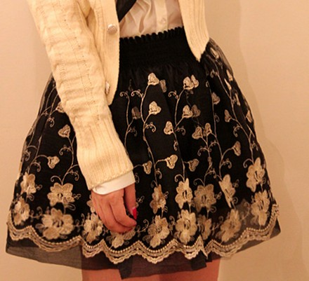 Retro Inspired High Waist Embroidered Black Floral Skirt