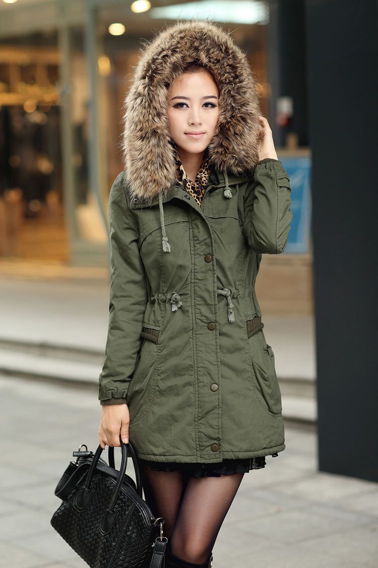 69fb79d7b8a48 Womens Winter Coats Faux Fur Lining Parka With Fur Hood In Green on ...