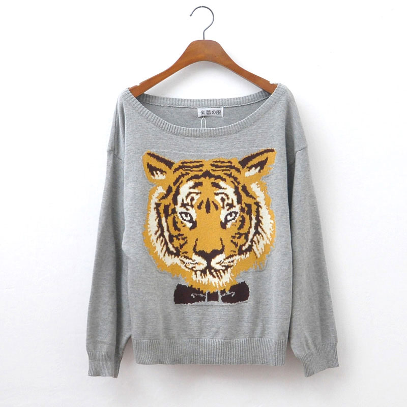 Fashion Gray Tiger Head Sleeve Sweater&Cardigan